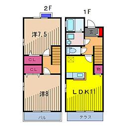 [テラスハウス] 東京都葛飾区東金町5丁目 の賃貸【/】の間取り