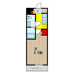 SHOKEN Residence亀有 14階ワンルームの間取り