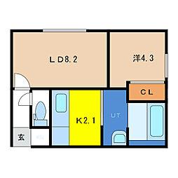 フォレストRIII 2階1LDKの間取り