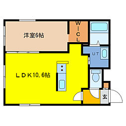 ITH asahicho 4階1LDKの間取り