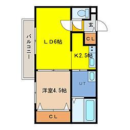 ecoa栄町 4階1LDKの間取り