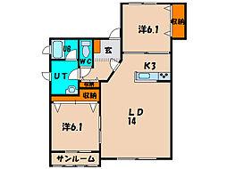 北海道北斗市久根別1丁目の賃貸アパートの間取り