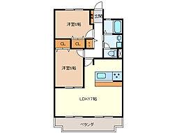 桜橋ハイツ[6階]の間取り