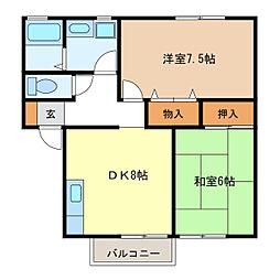 エスポワールA・B・C棟[A202号室]の間取り