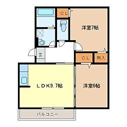 グリュックIIIA・B・C棟[2階]の間取り