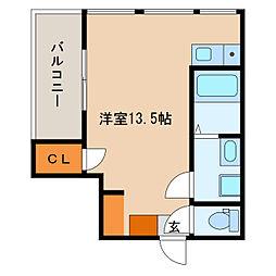 グローリア広明 2階ワンルームの間取り