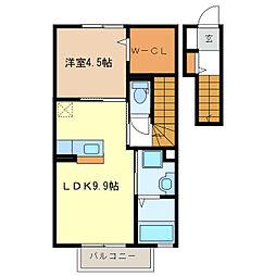 ジーウィズダム A棟[2階]の間取り