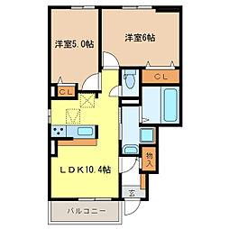 サニーレジデンスT2[1階]の間取り