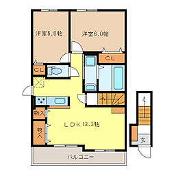サニーレジデンスT2[2階]の間取り