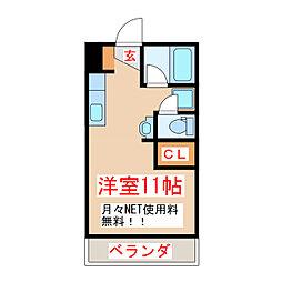 JR指宿枕崎線 坂之上駅 徒歩18分の賃貸マンション 1階ワンルームの間取り