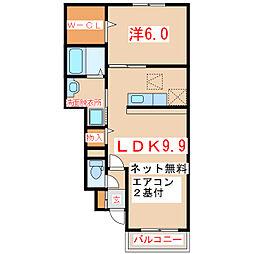 鹿児島県指宿市十町の賃貸アパートの間取り