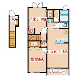 JR鹿児島本線 伊集院駅 徒歩27分の賃貸アパート 2階2LDKの間取り