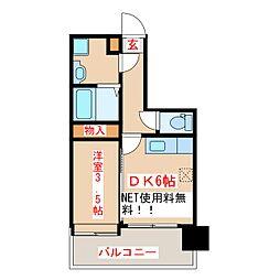 鹿児島市電1系統 笹貫駅 徒歩7分の賃貸マンション 5階1DKの間取り