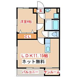 バス 保健所前下車 徒歩3分の賃貸アパート 1階1LDKの間取り