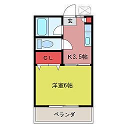 第2田辺コーポ[1階]の間取り