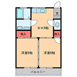 茨城県稲敷郡阿見町岡崎2丁目の賃貸アパートの間取り