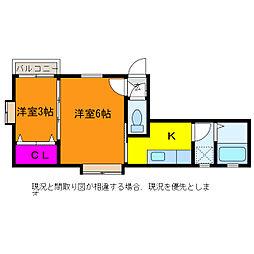 クレセントKO−SA[1階]の間取り