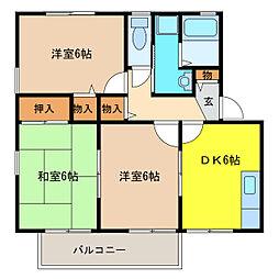 愛知県丹羽郡扶桑町大字高雄字北海道の賃貸アパートの間取り