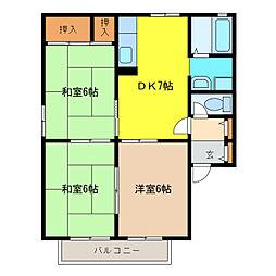 ハイツ花菱II[2階]の間取り