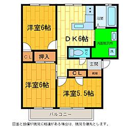徳島県板野郡松茂町住吉字住吉開拓の賃貸アパートの間取り