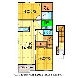 徳島県板野郡藍住町乙瀬字川口の賃貸アパートの間取り
