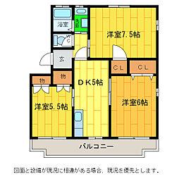 徳島県板野郡藍住町笠木字西野の賃貸マンションの間取り