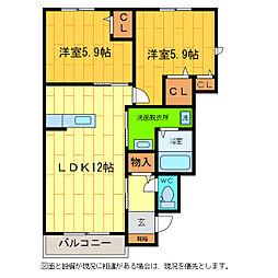 徳島県板野郡藍住町徳命字名田の賃貸アパートの間取り