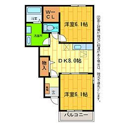 徳島県板野郡藍住町住吉字神蔵の賃貸アパートの間取り