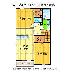 徳島県徳島市応神町東貞方字諏訪ノ市の賃貸アパートの間取り