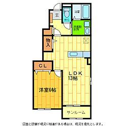 徳島県板野郡藍住町東中富字鑓場傍示の賃貸アパートの間取り