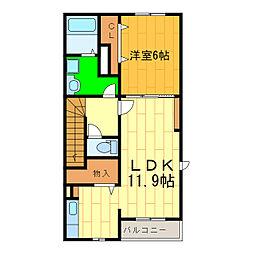 藍住町勝瑞アパートA[205号室]の間取り