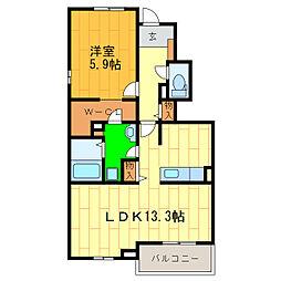 藍住町勝瑞アパートB[105号室]の間取り