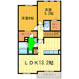 藍住町勝瑞アパートB[203号室]の間取り