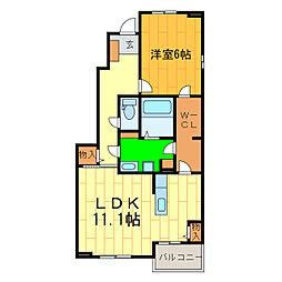 エレガンシア藍住B[1階]の間取り