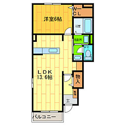 徳島県徳島市川内町北原の賃貸アパートの間取り