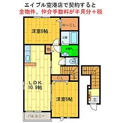 徳島県徳島市川内町加賀須野の賃貸アパートの間取り