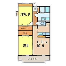 愛知県刈谷市小垣江町上松の賃貸マンションの間取り