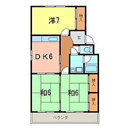 大和ハイツ A棟[3階]の間取り