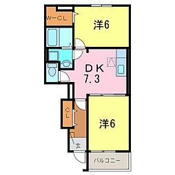 愛知県刈谷市稲場町4丁目の賃貸アパートの間取り