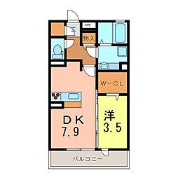 愛知県刈谷市新富町3丁目の賃貸アパートの間取り