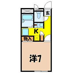 埼玉県熊谷市宮前町2丁目の賃貸アパートの間取り