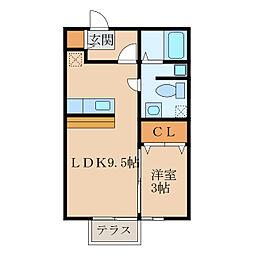 セジュール札元 A・B棟[1階]の間取り