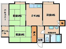 サンロード寿B棟[3階]の間取り