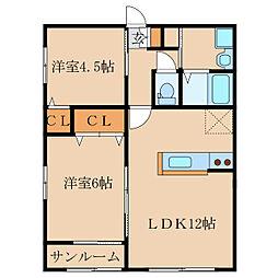 WINWIN札元G棟[2階]の間取り