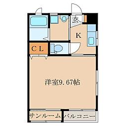 サンハイツ岡崎K[203号室]の間取り