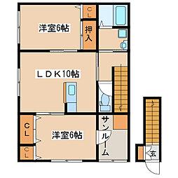 (仮)王子町新築アパートB棟 2階2LDKの間取り