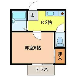 静岡県浜松市中区船越町の賃貸アパートの間取り