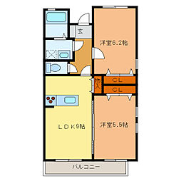 静岡県浜松市中区新津町の賃貸アパートの間取り