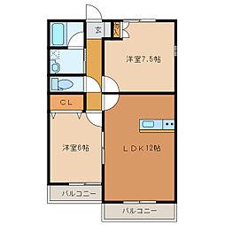 静岡県浜松市南区頭陀寺町の賃貸アパートの間取り