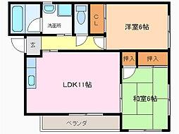 愛知県名古屋市緑区大清水1の賃貸アパートの間取り